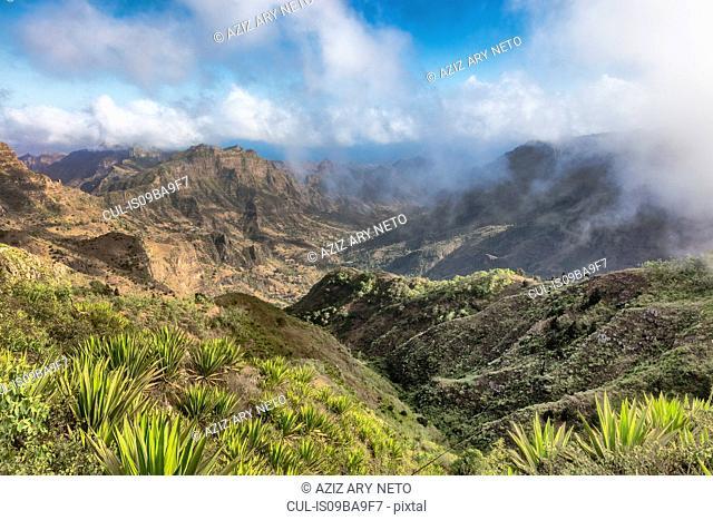 Mountain landscape with low clouds, Serra da Malagueta, Santiago, Cape Verde, Africa