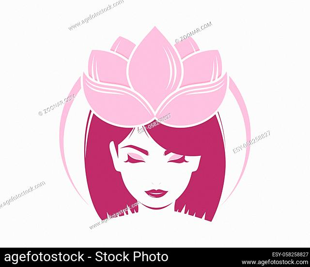 Beauty woman face with lotus crown