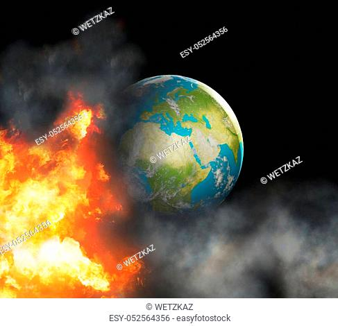 state of emergency with world globe focused at Europe with fire flames and smoke 3d-illustration. elements of this image furnished by NASA