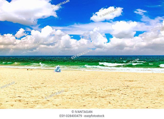 Seafront, beach, coast in Spain. Suburb of Barcelona, Catalonia
