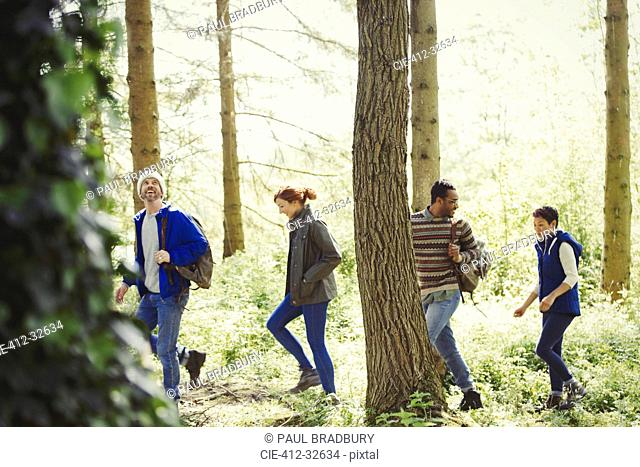 Friends hugging in sunny woods