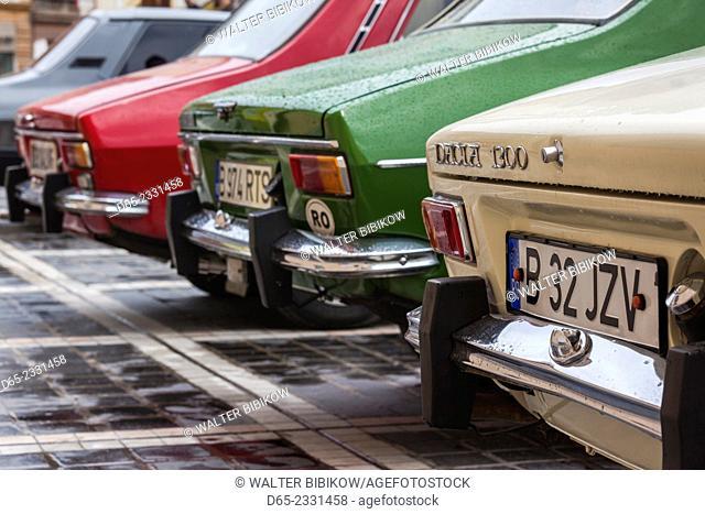 Romania, Transylvania, Brasov, Piata Sfatului Square, antique car show of 1970s-1980s-era Romanian Dacia cars