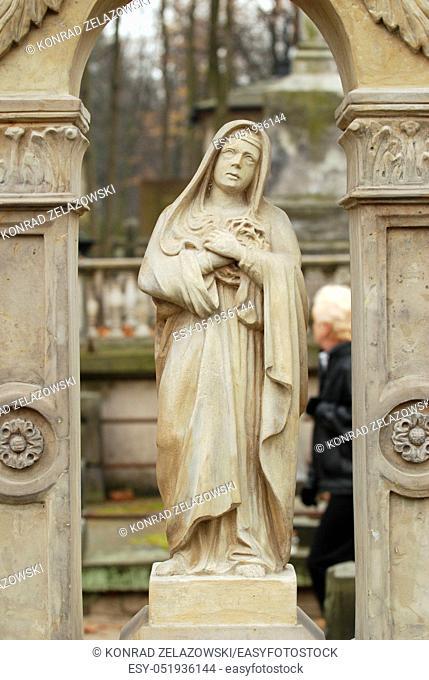 Gravestone statue on Old Powazki cemetery in Warsaw, Poland