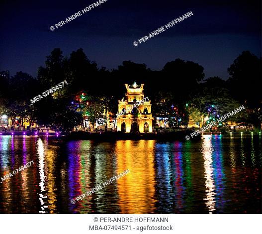 Hoan Kiem Lake with Thap Rua temple at night, Hanoi, Vietnam, Asia