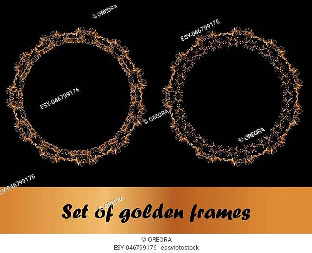 Set of round gold frames