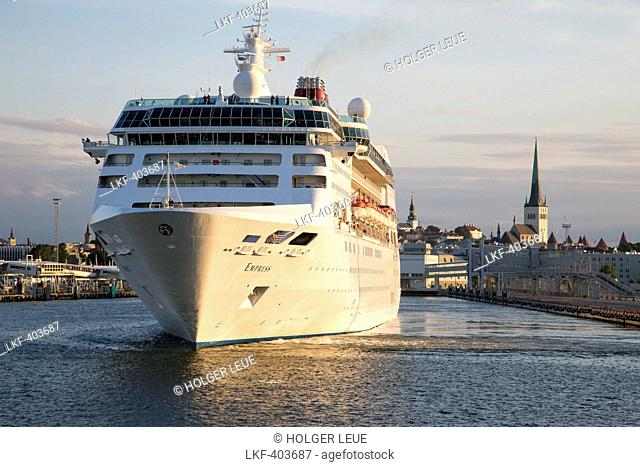 Cruise ship MS Empress in front of steeples in the evening light, Tallinn, Harjumaa, Estonia, Baltic States, Europe