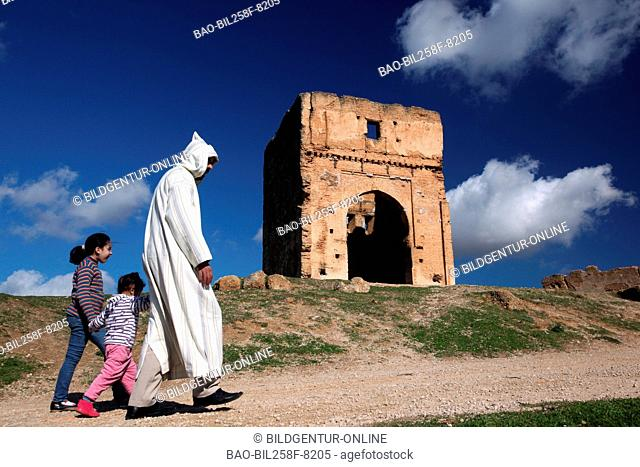 The city wall and the Northgate about the Madina or Old Town of fez in the north of Morocco in North Africa