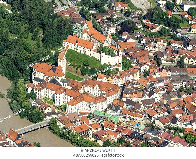 Aerial view of historic downtown of Füssen, castle and monasteries, river Lech, Bavaria, Germany