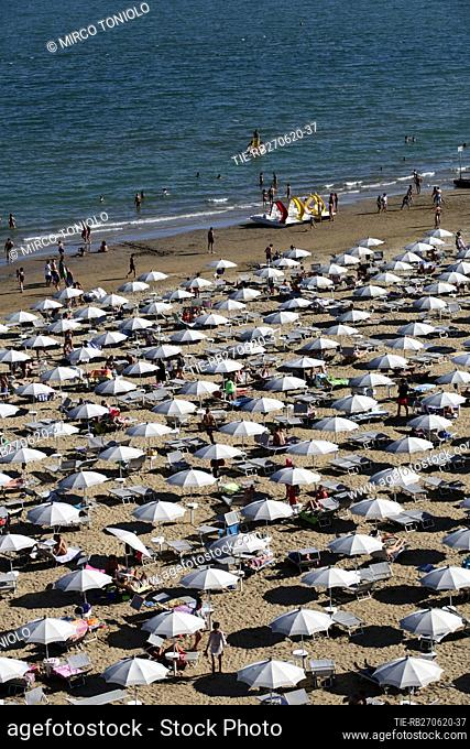 A view of bathing facilities in Jesolo , ITALY-27-06-2020