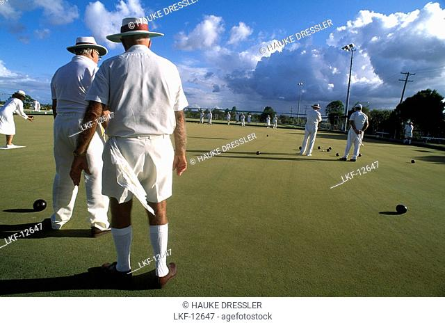 People bowling outdoors, Brother's Sport Club, Bundaberg, Queensland, Australia