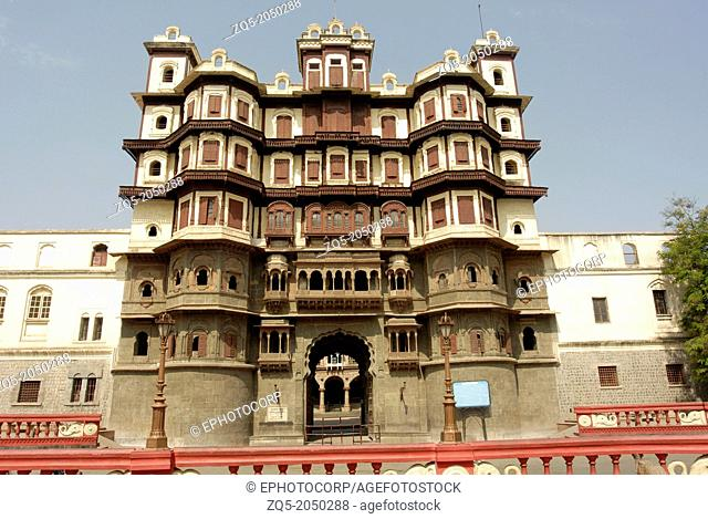 Front view of Holkar palace, Indore, Madhya Pradesh, India. The Holkar dynasty ruled as Maratha Rajas and later Maharajas of Indore in Central India as an...