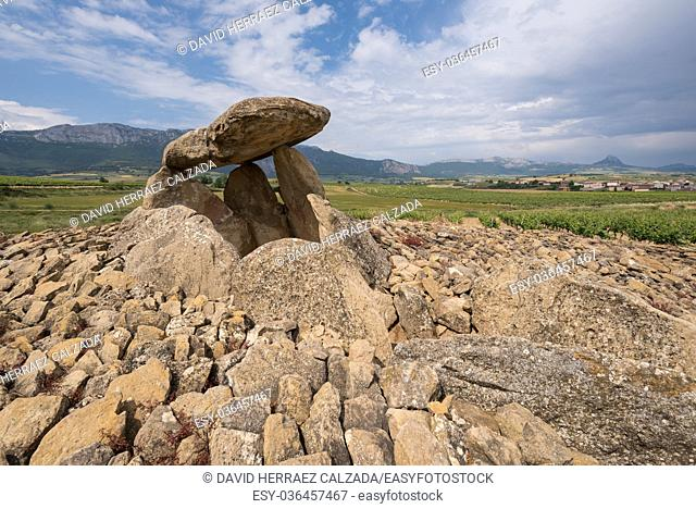 Megalithic Dolmen Chabola de la Hechicera, in La Guardia, Basque Country, Spain
