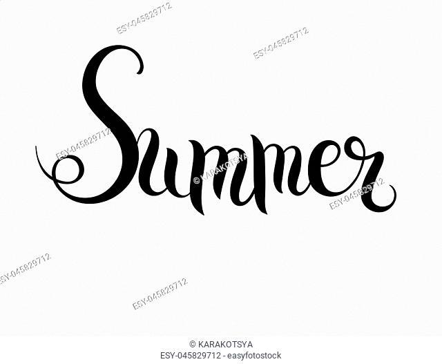 black and white summer hand written lettering inscription, vector illustration