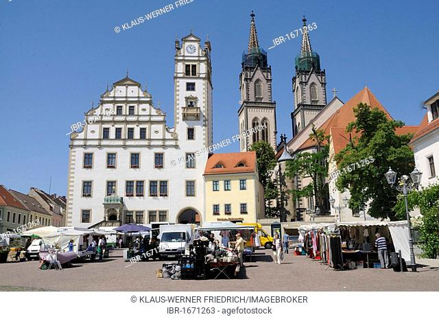 St. Aegidien church, town hall and market square of Oschatz, Landkreis Nordsachsen county, Saxony, Germany, Europe