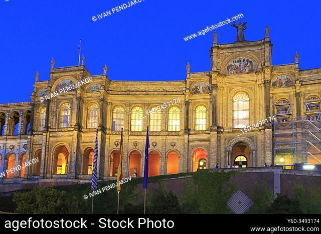 Maximilianeum at Night, Munich, Germany