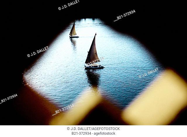 Felouka boat. Nile river. Luxor. Egypt