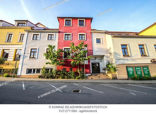 tenement houses at Ceska Street in Mikulov town, Moravia region, Czech Republic