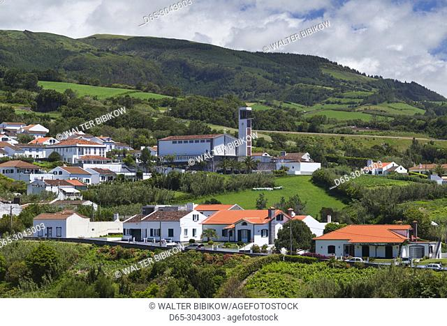 Portugal, Azores, Sao Miguel Island, Ribeira Cha, elevated town view