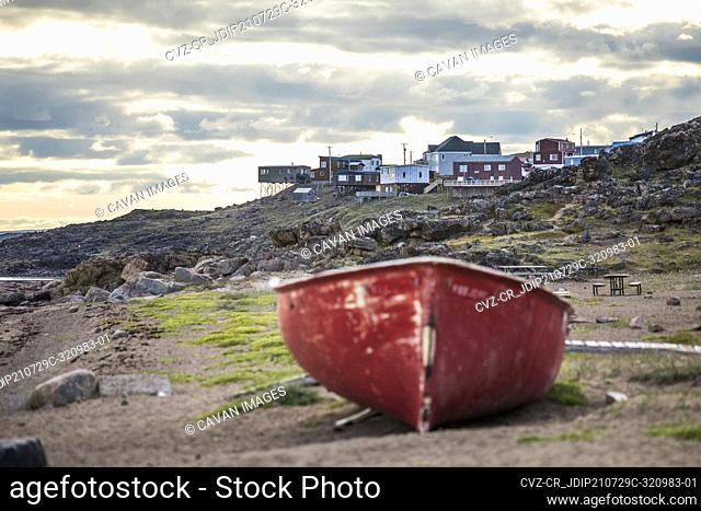 View of unique homes in Iqaluit from the beach at Hudson Bay Company