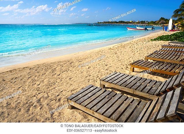 Mahahual Caribbean beach hammocks in Costa Maya of Mayan Mexico