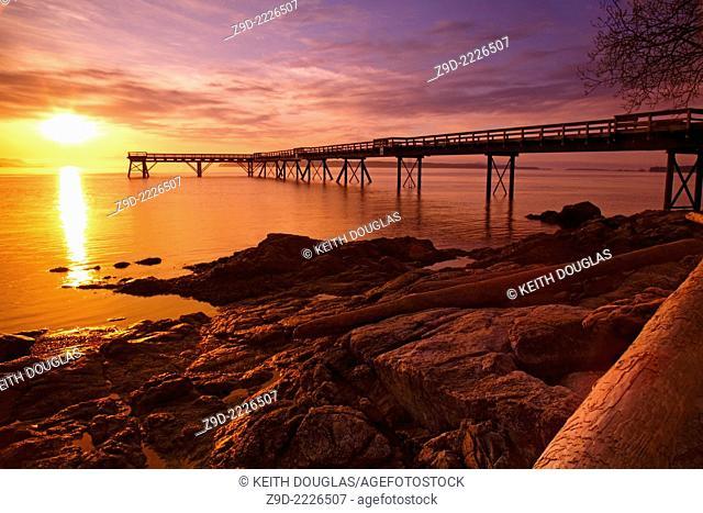 Fishing pier at dawn, Sidney, British Columbia