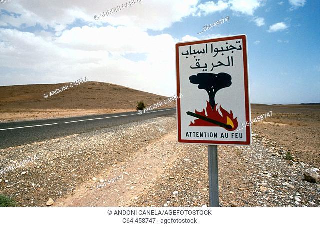 Fire sign, Atlas mountains. Morocco