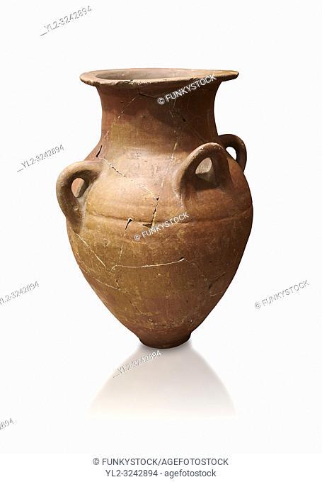 Hittite terra cotta four handled pot. Hittite Empire, Alaca Hoyuk, 1450 - 1200 BC. Alaca Hoyuk. Çorum Archaeological Museum, Corum, Turkey