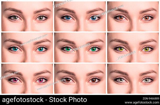 Colorful eyes collage close-up. Contact lenses concept