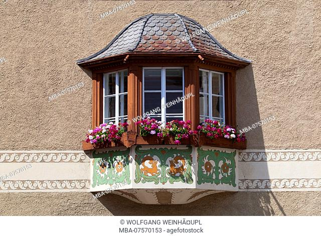 Typical oriel on house wall, Samedan, Upper Engadine, Canton of Grisons, Switzerland