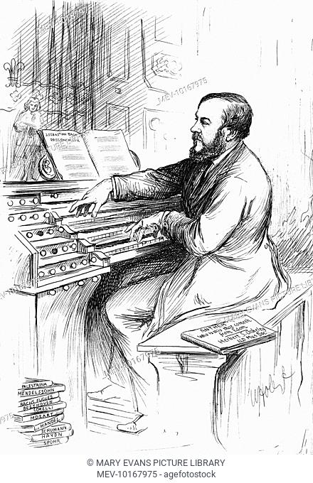 Sir HERBERT STANLEY OAKELEY Scottish musician, depicted at the console of an organ