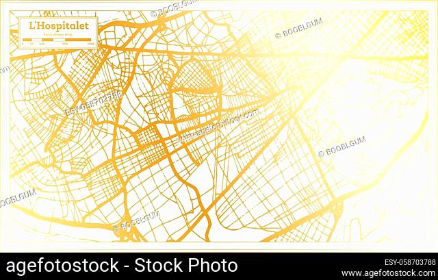 L Hospitalet Spain City Map in Retro Style in Golden Color. Outline Map. Vector Illustration