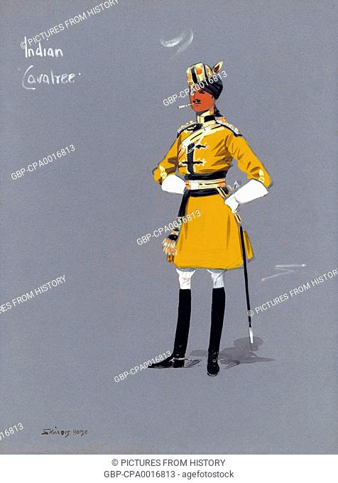 India: Indian 'Cavalree' officer of Skinner's Horse. Caricature style gouache painting, Snaffles, 1910