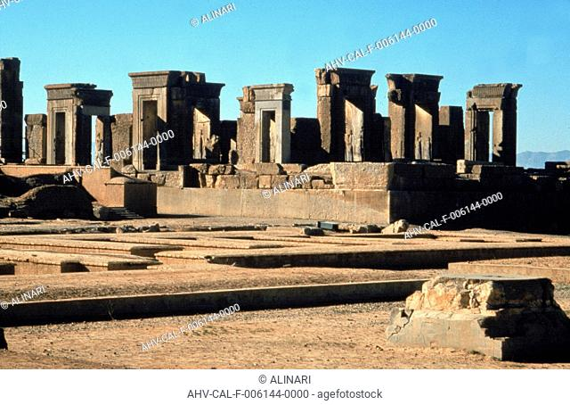 Archaeological remains of the Palace of Darius the Great in Persepolis (522-486 BC), shot 1990 ca. by Alinari