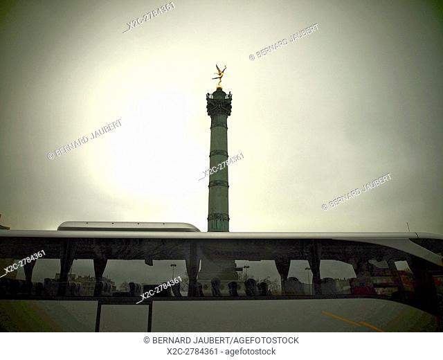 Paris. 11e arr. July column. Place de la Bastille. France. Europe