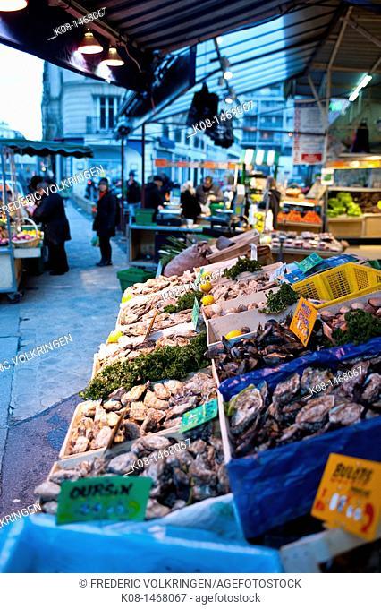 Fish stall at market, Paris, France