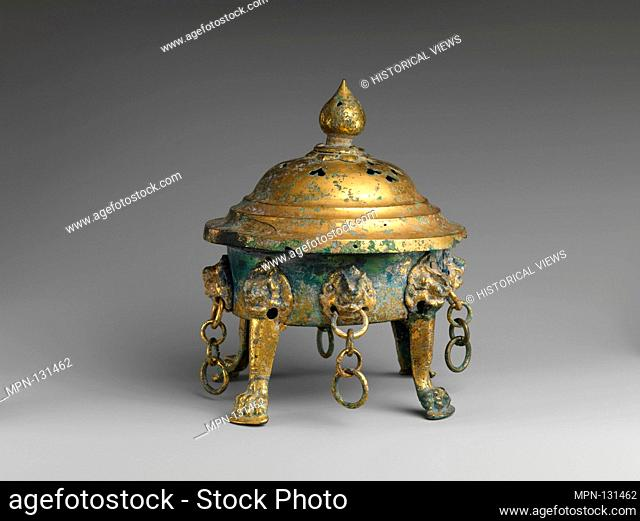 Covered Incense Burner. Period: Six Dynasties (220-589) or Tang (618-907) dynasty; Culture: China; Medium: Gilt bronze; Dimensions: H. 9 in. (22
