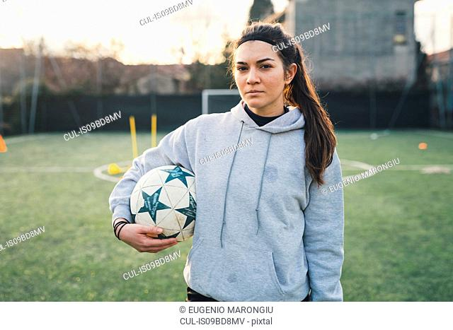 Portrait of female football player