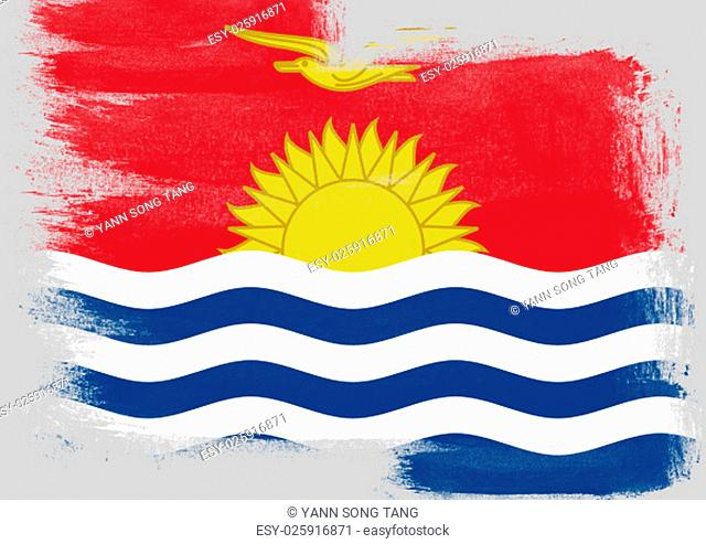 Flag of Kiribati painted with brush on solid background