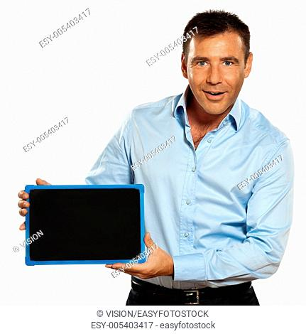 one caucasian business man holding a blackboard copy space message in studio isolated on white background