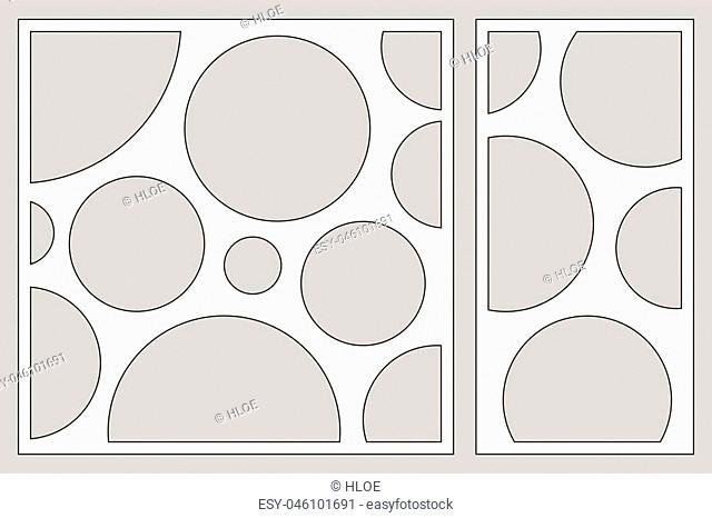 Decorative card set for cutting laser or plotter. geometric art circle pattern panel. Laser cut. Ratio 1:2, 1:1. Vector illustration