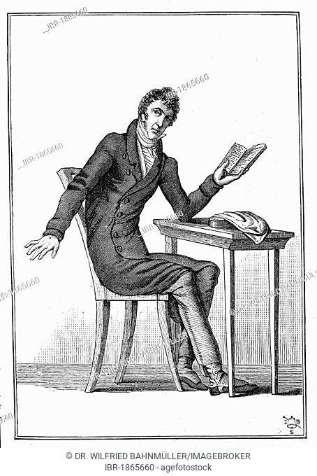 Zacharias Werner (1768-1823), poet, dramatist, steel engraving, before 1880