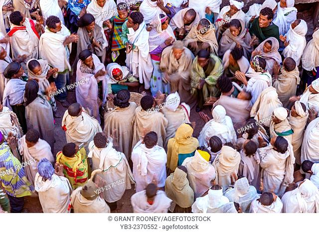 Ethiopian Christians Celebrating Christmas, Biete Giyorgis (Church of Saint George), Lalibela, Ethiopia
