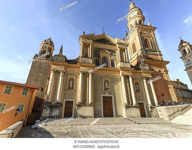 France, Alpes Maritimes, Menton, Saint Michel Square and Saint Michel Archange basilica