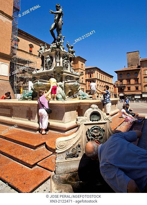 Fountain of Neptune, Fontana di Nettuno Piazza Nettuno, next to Piazza Maggiore, Bologna, Emilia-Romagna, Italy, Europe