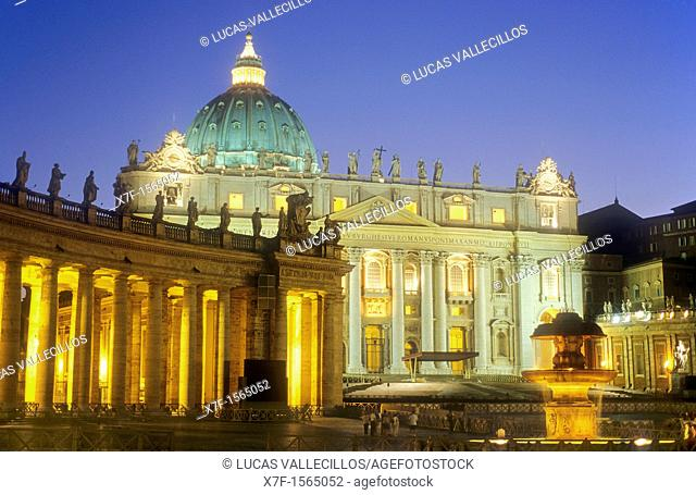 St Peter's Basilica in St Peter's square, The Vatican,Rome, Italy