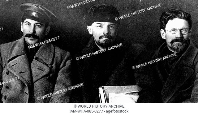 Photograph of three prominent Russian revolutionaries. Left to right: Joseph Stalin (1878-1953) leader of the Soviet Union