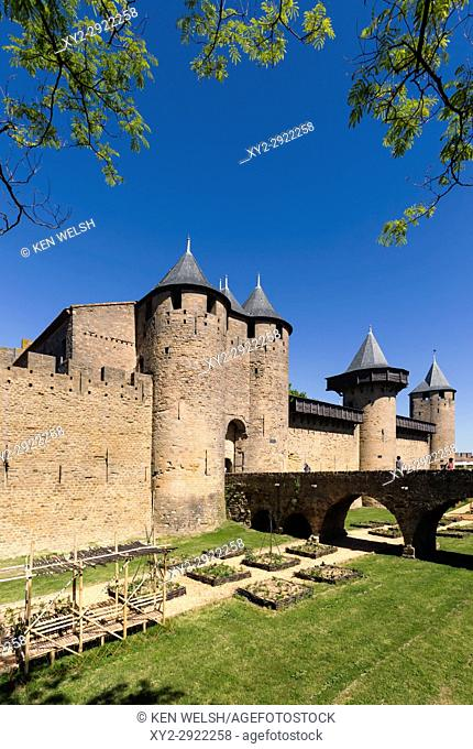Carcassonne, Languedoc-Roussillon, France. Le Chateau; a fortress within the walls of the fortified city. The Cite de Carcassonne is a UNESCO World Heritage...