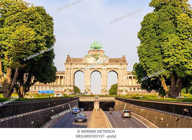 Belgium, Brussels, Parc du Cinquantenaire, Triumphal Arch, Avenue John Kennedy