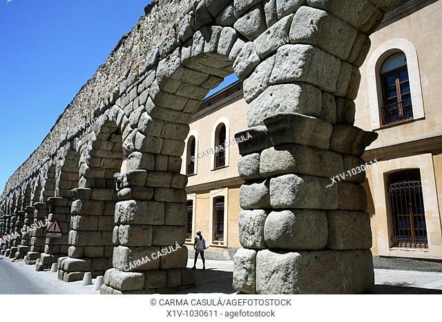 Roman aqueduct, Segovia. Castilla-Leon, Spain