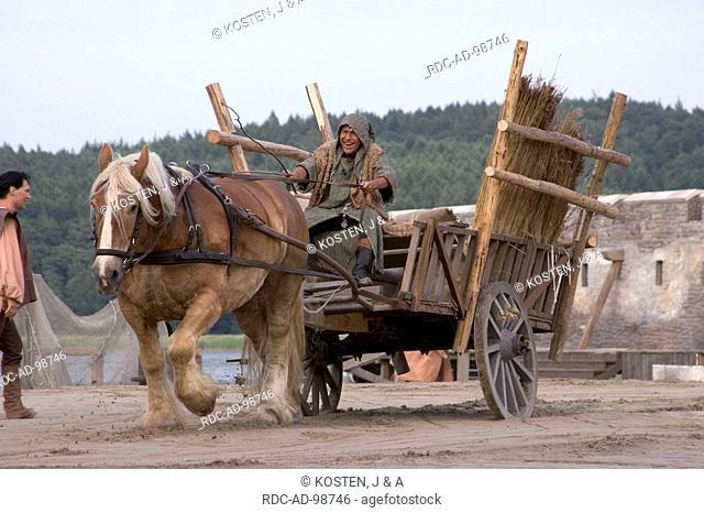 Man on horse cart Stortebeker Festival Ralswiek Isle of Ruegen Mecklenburg-Western Pommerania Germany